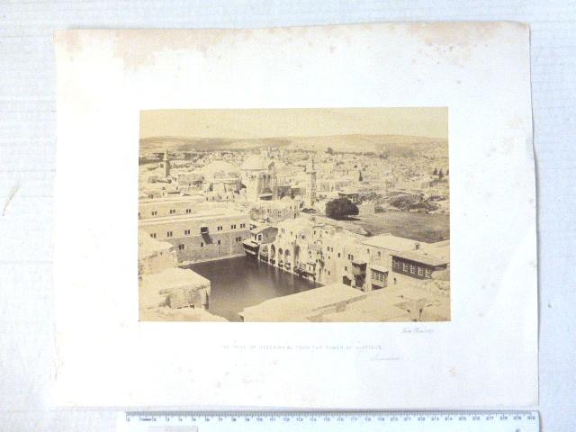 """צילום אלבומין, בריכת חזקיהו ומגדל היפיקוס (מגדל דוד), 1857,  160X234 מ""""מ"""