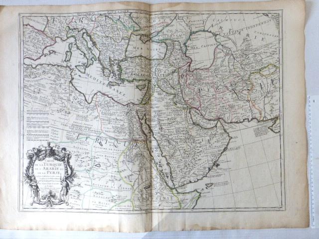 תחריט צבוע ביד, מפת טורקיה, ערב ופרס Carte de la Turquie, de L'Arabe et de la Perse, Paris, 1701 stains