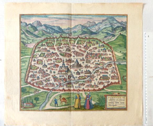תחריט צבוע ביד, מפת דמשק Damascus, Vrbs nobilissima ad Libanum montem totius, Cologne, 1588, 320X355