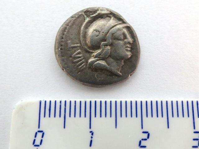 """מטבע כסף רומי ע""""ס דינר 77 לפנה""""ס סטרינה Satriena, נדיר"""