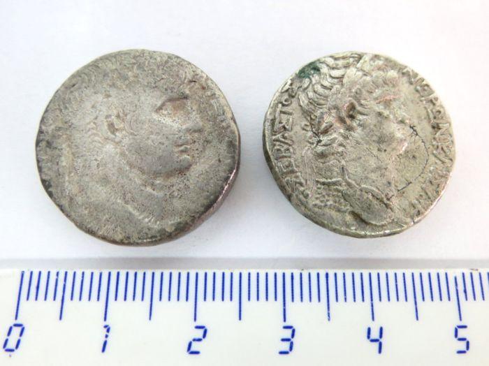 שני מטבעות כסף טטרדרכמות סלע!, שלטון נירון, 45-68 לספירה, מצב VG