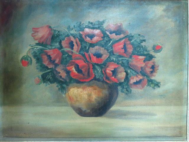 שמן על בד, דומם, פרחים 60X79