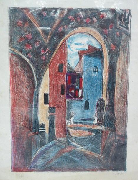 הדפס צבוע בפסטל, סמטה בעיר העתיקה, חתום ביד, 52X38