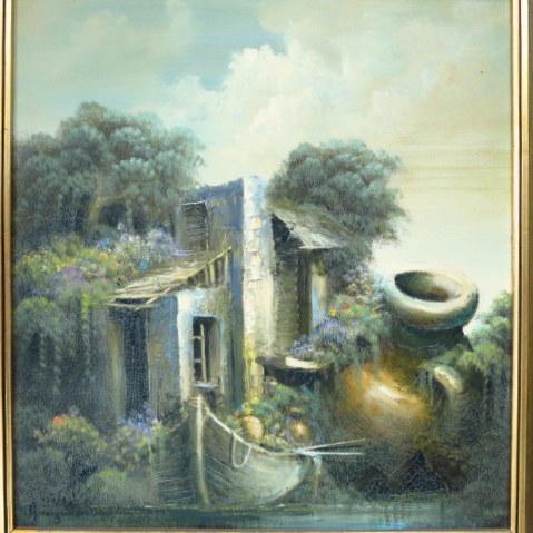 שמן על בד, בית בנוף סוריאליסטי חתום, 42X40
