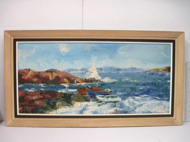 שמן על בד, סירות דייגים בחוף הים, חתום,  35X75