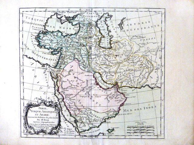 """תחריט נחושת עם צביעת יד מפת המזרח התיכון, פאריז 1766, Perse, Turquie Asiatique et Arabie"""" 230X250"""