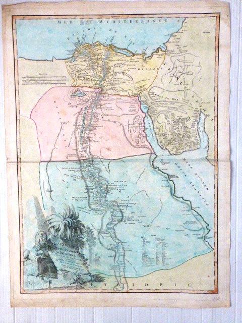 תחריט עם צביעת יד, מפת מצרים העתיקה והמודרנית Carte de L'Egypte ancienne et moderne, Paris, 630X480