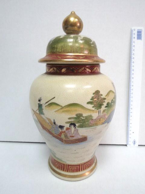 """קופסת ג'ינג'ר יפנית, קרמיקה עם ציור יד: תמונות אצילים, גובה 31 ס""""מ"""