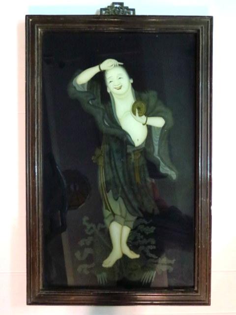 """ציור יפני ע""""ג זכוכית, גבר בבית מרחץ 60X35"""