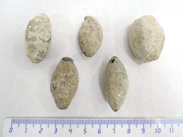 """חמש אבני קלע מעופרת, תקופה הלניסטית, מאות 3-2 לפנה""""ס"""