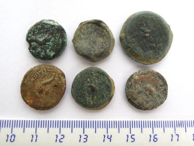 """שש מטבעות ברונזה, שלטון מתיתיהו אנטיגונוס, 40-37 לפנה""""ס מצב VG-Fine"""