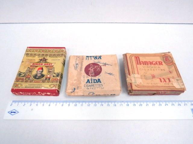 שלוש קופסאות של סיגריות ללא סיגריות, תקופת המנדט, מצב גרוע: אאידה, מנגר סימון ארצד