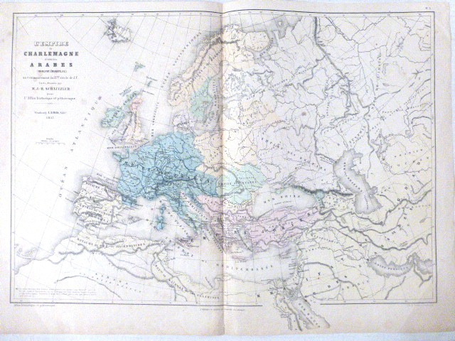 מפת האימפריה של שרל הגדול, סטרסבורג 1857 L'Empire de Charlemagne et celai des Arabes, M-J-H Schnitzler, ed E. Simon, Strassbourg 1857, 330X483 mm