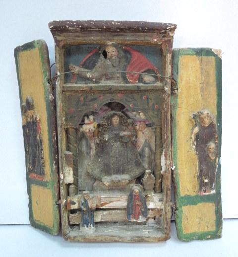 איקונה נוצרית, המאה ה-17 עבודה עממית נאיבית, גילוף עץ עם צביעת יד, מקורה ממנזר שנסגר באזור מדבר יהודה