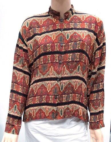 חולצת משכית, 100% ויסקוזה עם דוגמה הודית, מידה M