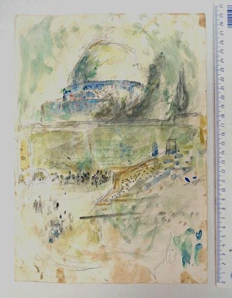 אקוורל, מסגד כיפת הסלע עם הכותל (פרופורציות פרי דמיונו של האמן), חתום, חלודה, 30X21