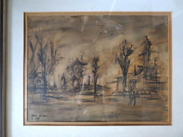 אקוורל, נוף, חתום 1961
