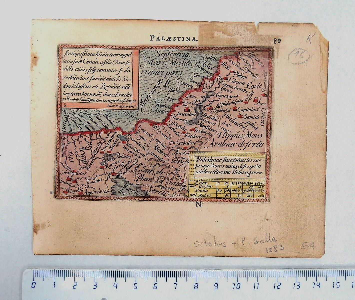 """תחריט עם צביעת יד, מפת ארץ ישראל 1583, מידות 78X107 מ""""מ"""