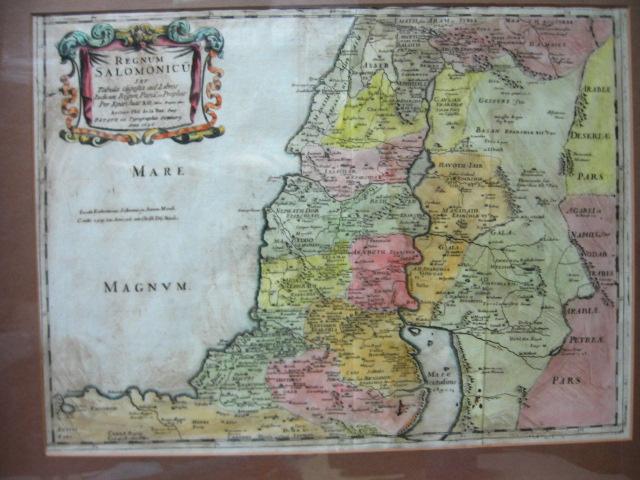 Regnum Salmonicuתחריט צבוע ביד מפת ארץ הקדש, Paris 1696, מדובר במהדורה מאוחרת יותר של לאור 417