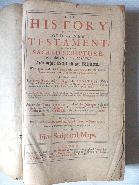 The History of the old and new Testament incl 5 maps (all), London 1705 (spine and binding dismantled)