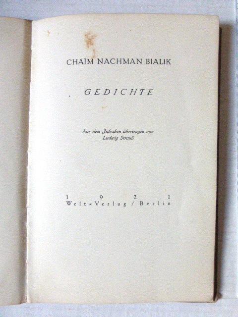 שירים Gedichte Welt Vlg, Berlin 1921, no 33 of 500