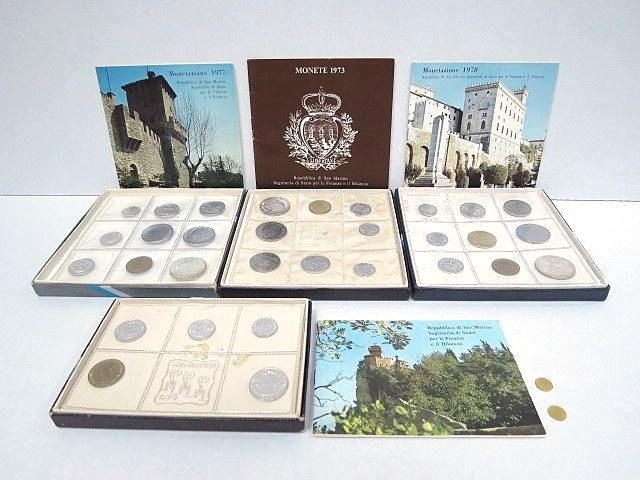 """ארבעה סטים, מטבעות סן מרינו וכן שתי מטבעות מיניאטוריות, סן מרינו, 1893, 1898 ע""""ס 5 לירה כ""""א,Repulicadi San Marino , Monete Dello Stato 1973, 1974, 1977, 1978"""