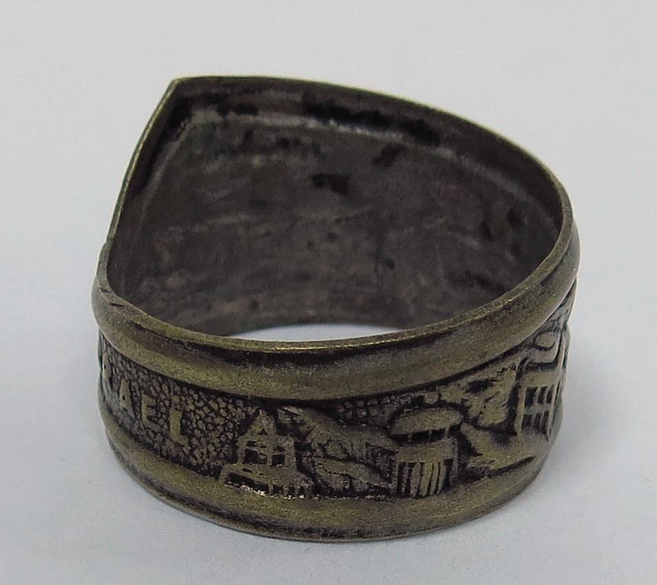 """טבעת עם תבליט אניית מעפילים מוסדות המדינה וכיתוב """"Israel"""""""