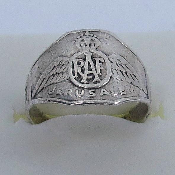 טבעת כסף עם סמל RAF מזכרת מירושלים
