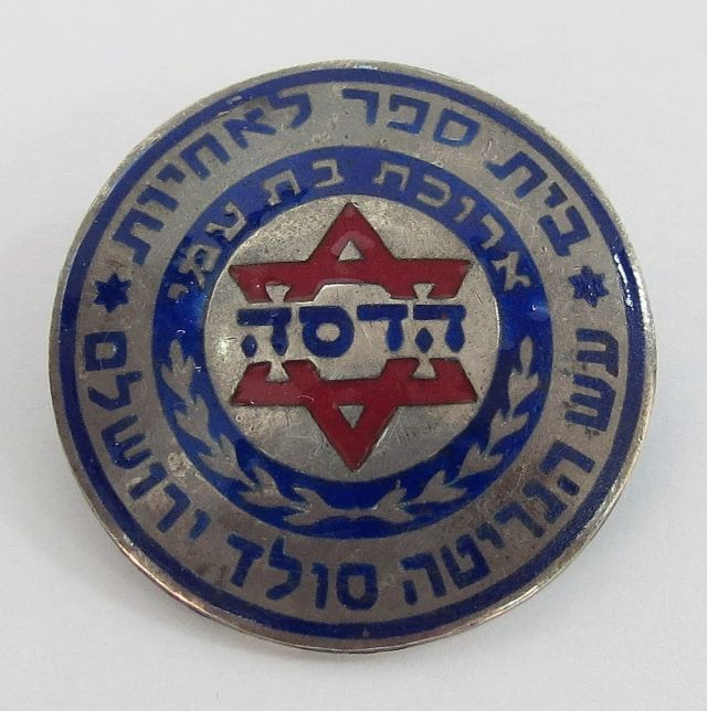 """סיכת בי""""ס לאחיות ע""""ש הנרייטה סאלד ירושלים, עשויה כסף ואמייל"""