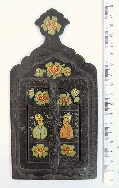 """מראה פרסית לאישה, עם דלתות, עץ עם ציור יד, 17.6X9 ס""""מ"""