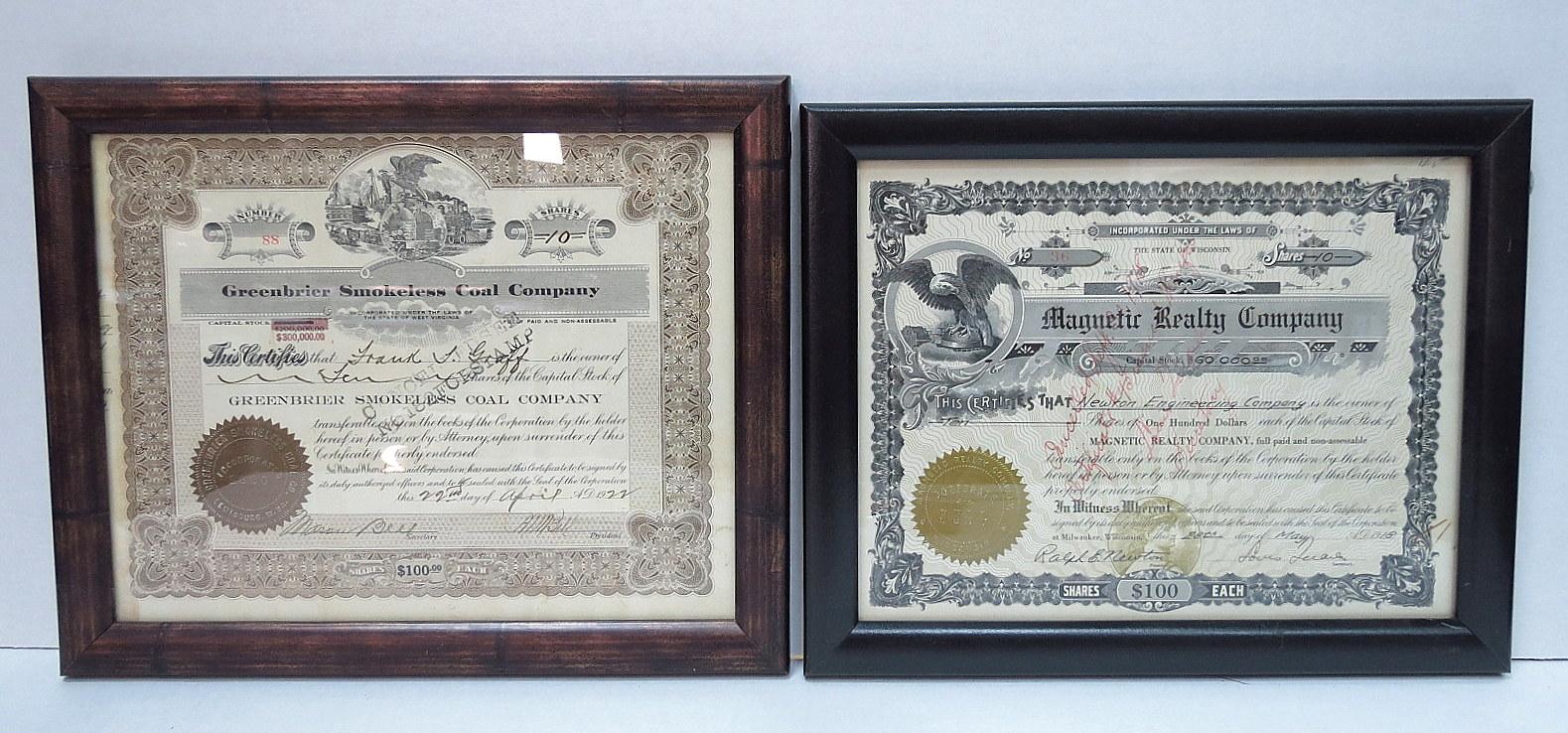 שתי תעודות מניה (שנפדו) Greenbridge Smokeless Cool Co 1922, Magnetic Realty Company 1918