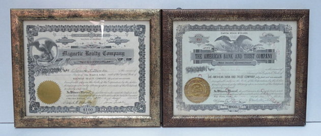 שתי תעודות מניה שנפדו The American Bank and Trust Co 1926, Magnetic Realty Co 1917