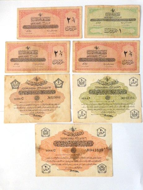 לוט 7 שטרות האימפריה העותמאנית 20 פיאסטר סדרה C שנת , 1332 (1913), חמישה פיאסטר סדרות 11- שנת 1332 (1913), C שנת 1331 (1912), שתים וחצי פיאסטר (3) 1332 (1913), פיאסטר אחד, 1332 (1913)