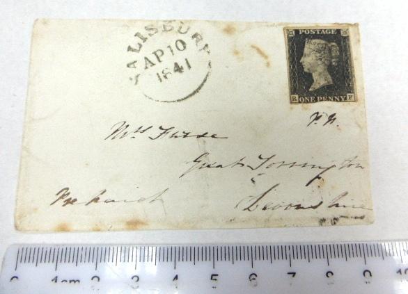 """מעטפה שנשלחה בדואר, ביול """"One Penny"""" שחור, AP.10.1841"""
