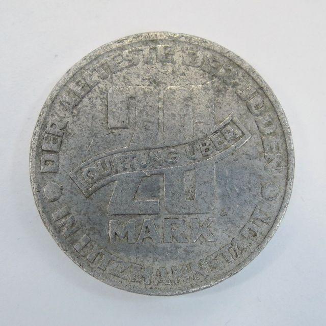 """מטבע אלומיניום ע""""ס 20 מרק, גטו ליצמשטדט (גטו לודז'), 1943"""