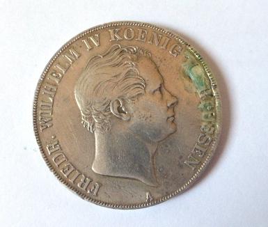 """מטבע כסף 900 ע""""ס מרק אחד-3.5 גילדן 1 Mark-3.5 Goulden, Prussia 1844, VF"""