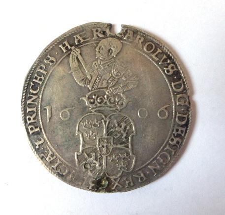 """מטבע כסף ע""""ס 4 מרק, שבדיה 1606, מצב VG"""