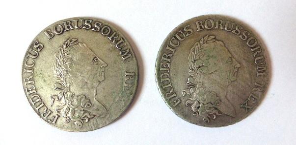 """שני מטבעות כסף ע""""ס Ein Reichs Thaler 1780B, 1785A, Fine-VF"""