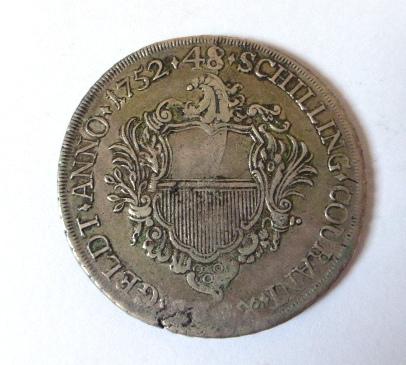 """מטבע כסף ע""""ס 48 שילינג עיר הנמל החופשית Luebek 1852, fine"""