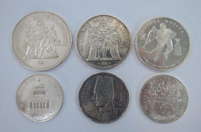 """שש מטבעות כסף, ארצות שונות סה""""כ כ-120 גרם"""