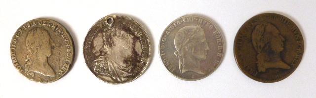 """ארבע מטבעות כסף 900 ע""""ס Thaler אוסטריה, M.Theresia 1762,  VG with hole  1789 Josef II  VG,  1796 Franz II VG 1838 Ferdinand I 1838  XF"""