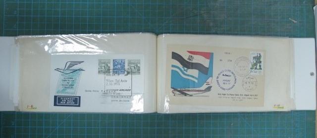 אלבום עם 70 מעטפות תחבורה פתיחת קוי ים ואוויר, ועוד, שנות ה50-80