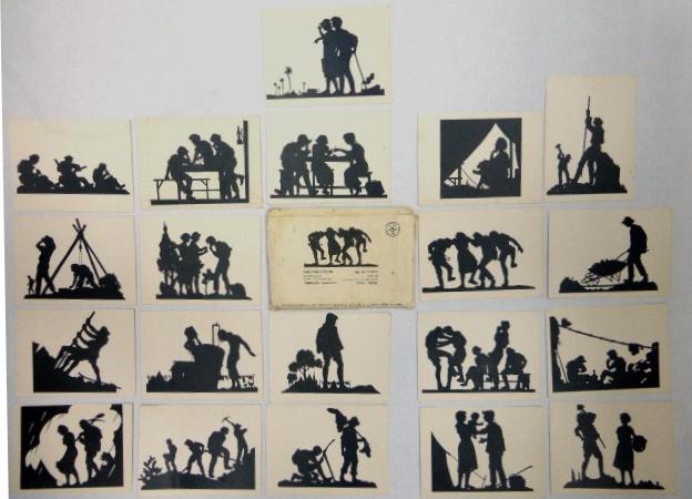 """סדרת גלויות """"חלוצים"""" 20 צלליות, בצלאל ירושלם"""