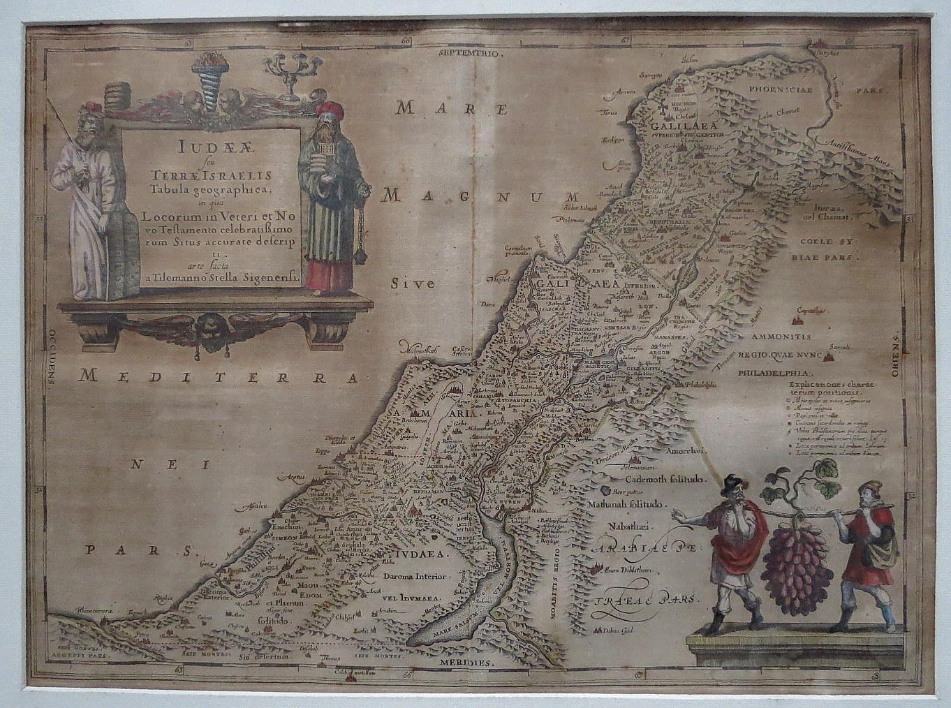תחריט נחושת צבוע ביד, מפת ארץ ישראל Judaea seu Terrae Israelis Tabula Geographica, Amsterdam 1658, 357X483 Laor 373