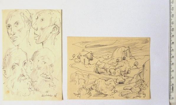"""שני דפי סקיצות (רישומים) א. נוף, 12X9 ס""""מ ב. ארבעה דיוקנאות, חתום, 13X8.5 ס""""מ"""