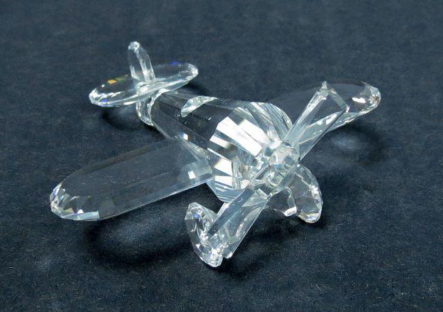 פיגורת זכוכית Swarowski מטוס קטן, חתום, 6.5X7.5