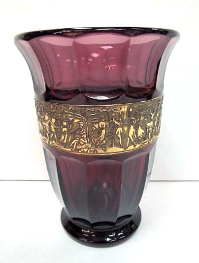 """אגרטל זכוכית סגנון מוזר Moser style  גובה 16.5 ס""""מ"""