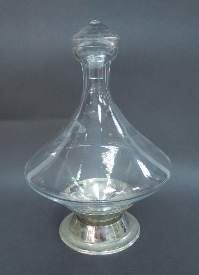 """בקבוק דקנטר לקוניאק זכוכית ומתכת, גובה 27 ס""""מ"""
