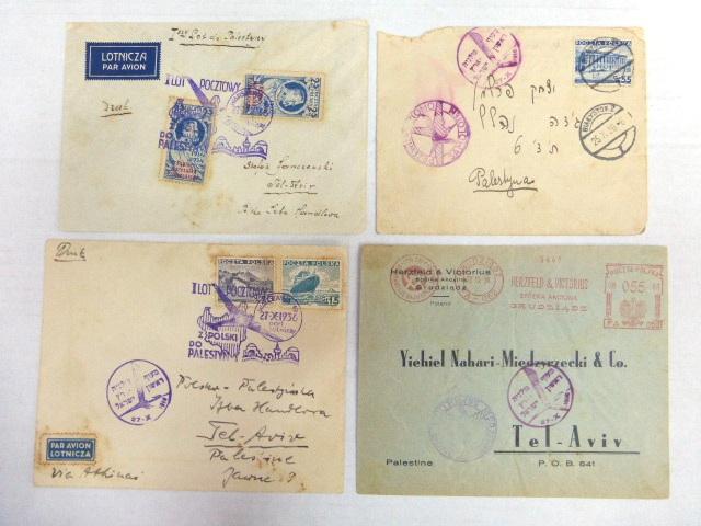 ארבע מעטפות דואר אוויר, טיסה ראשונה מפולין לארץ ישראל 27.10.1936
