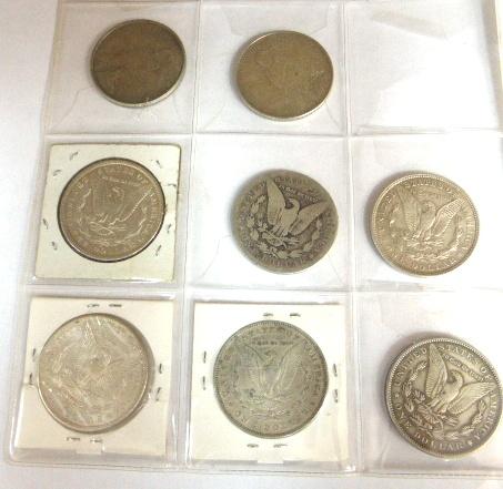 """אוגדן עם מטבעות ארה""""ב 1881-1964 לא רציף, מצבים שונים: 5 סנט (23), 10 סנט (4), 25 סנט (3), חצי דולר (54), 1 דולר (8), ס""""ה 37.30 דולר ערך נומינלי"""